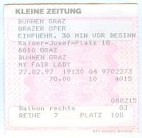 """Ticket Eintrittskarte Musical """"My Fair Lady"""" 1996 Graz Grazer Oper 27.2.1997 Biglietto Entrada Kaartje Bilet Austria - Eintrittskarten"""