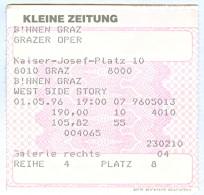 """Ticket Eintrittskarte Musical """"West Side Story"""" 1996 Graz Grazer Oper Steiermark Biglietto Entrada Kaartje Bilet - Eintrittskarten"""
