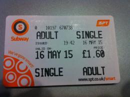 Ticket De Métro Glasgow - Subway