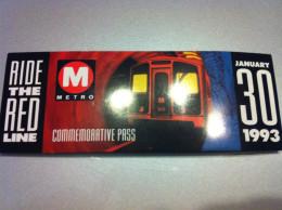 Ticket De Métro Los Angeles Inauguration 1993 - Subway