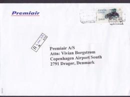 Spain Registered Certificado TENERIFE 2002 Cover Letra Denmark ATM / Frama Label Old Car Auto - Poststempel - Freistempel