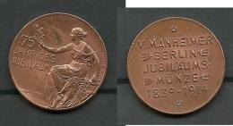 V. Manheimer Berlin 75 Jährige Jubiläumsmünze 1839-1914 - Souvenirmunten (elongated Coins)
