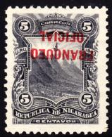 Nicaragua 1893 5c Official Inverted Overprint. Scott O33. MH. - Nicaragua