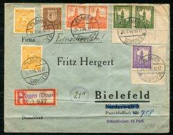 3983 - SBZ - Mi.Nr. 156, 158 (2-Ecke), 159 (Ecke), 160 (2) Auf R-Brief Von Plauen Nasch Bielefeld (1 Pfg. überfrankiert) - Zone Soviétique