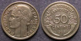 AFRIQUE OCCIDENTALE FRANCAISE   50 Centimes  1944   FRENCH WESTERN AFRICA   PORT OFFERT - Guinea
