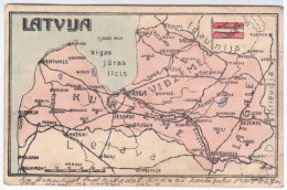 Latvia 1922 Lithuania Estonia Russia Map - Latvia