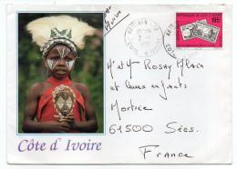 Côte D'Ivoire--1991--Lettre De ABIDJAN Pour SEES (France)--timbre Seul Sur Lettre Enveloppe Illustrée Recto-verso - Côte D'Ivoire (1960-...)