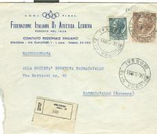 CONI-FEDERAZIONE ITALIANA ATLETICA LEGGERA,BOLOGNA, BUSTA COMM. RACCOMANDATA,1955,POSTE BOLOGNA BORSA, - Atletica