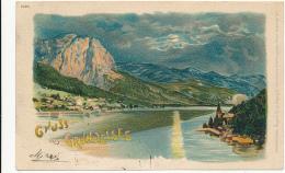 ÖESTERREICH, Gruss Aus GRUNDELSEE (bei Nacht), # 5095,  Von Regel & Krug, PU 1900 - Aquarellkarte - Austria