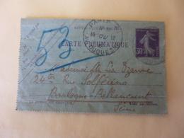 CARTE LETTRE  PNEUMATIQUE   Semeuse 30 Ct Violet Sans Date  Obliteration Daguin Double  Paris Avenue Duquesne  AV 2016 - Pneumatic Post