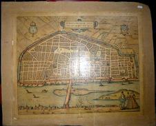45  ORLEANS  RARE  CARTE GEOGRAPHIQUE  ANCIENNE  FIN XV°  SIECLE    ENTOILEE  ET COLOREE - Cartes Géographiques