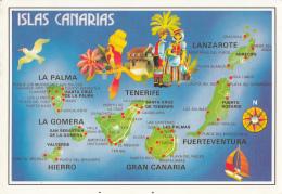 Islas Canarias Map Postcard - Cartes Géographiques