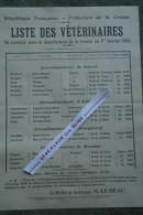 23 - AUBUSSON - GUERET-BOURGANEUF-BOUSSAC-AFFICHE LISTE DES VETERINAIRES 1924-VETERINAIRE- LA SOUTERRAINE-AUZANCES-EVAUX - Afiches