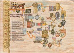 Rekodzieko Ludowe W Polsce Map Warszawa 13x18cm Postcard As Per 2scans - Cartes Géographiques