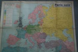 GUERRE 1939-1945- WW2- AFFICHE ORIGINALE  -  PARIS SOIR- EUROPE EN GUERRE 1939-1940-FRANCE-ALLEMAGNE-URSS-SUEDE-FINLANDE - Afiches