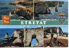 Etretat Multivues : Ensemble Aiguille Porte Aval Manneporte Caloges (blason Coquille St Jacques) N°106 Artaud Neuve - Etretat