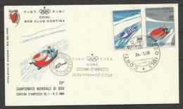 1966 Italia Italy Repubblica CAMPIONATI MONDIALI DI BOB CORTINA Busta CONI Bob Club Cortina Annullo Commemorativo - Inverno
