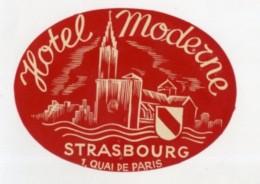 FRANCE, Strasbourg - Hotel Moderne - Luggage Label - (270) - Etiquettes D'hotels