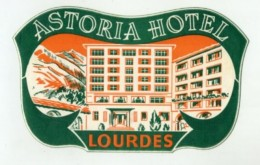 FRANCE, Lourdes - Astoria Hotel  - Luggage Label - (273) - Etiquettes D'hotels