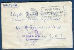France- Enveloppe De Paris Pour Londres En 1946  Affranch. Au Verso  Voir 2 Scans   Réf. 803 - Marcophilie (Lettres)