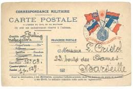 Carte Postale Franchise Militaire, Correspondance Militaire, Trésor Et Postes, Adressée à Marseille - Altri
