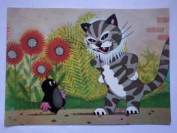 Krtek, Or, For Little Mole, Krteček.  Old Postcard - With Evil Cat - Chats