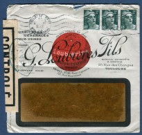 France- Enveloppe De Toulouse  En 1945  Affranch. Type Gandon Et Contrôle Postal Voir 2 Scans   Réf. 805 - Marcophilie (Lettres)