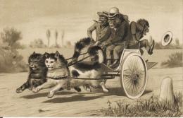 CP  ANIMAUX HABILLES - SINGES  - CARTE GAUFREE - - Animali Abbigliati