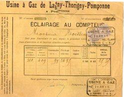 VP4507 -  Facture - Usine à Gaz De LAGNY - THORIGNY - POMPONNE - Electricity & Gas