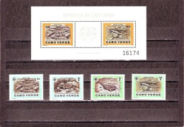 (WWF-038) W.W.F. Cape Verde Lizards - Reptiles MNH Perf Stamps & Souvenir Sheet 1986 - W.W.F.