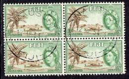 FIJI - 1954 QEII HEALTH PENNY HALFPENNY FINE USED BLOCK OF 4 SG 296 X 4 REF A - Fiji (...-1970)