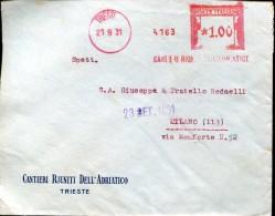 8602 Italia,  Red Meter Freistempel,  1931  Trieste Cantieri Riuniti Dell´adriatico, Circuled Cover - Poststempel - Freistempel