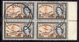 FIJI - 1954 QEII HEALTH TWO PENNY HALFPENNY FINE USED BLOCK OF 4 WITH MARGIN SG 297 X 4 - Fiji (...-1970)