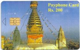 Nepal (Nepal Telecom) Phonecard - Temple, 200Rs, Sample (No Serial) Rare - Nepal