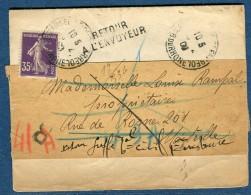 France  - Lettre ( De Tribunal) De Marseille En 1909 Et Retour    Voir 2 Scans   Réf. 825 - 1877-1920: Période Semi Moderne