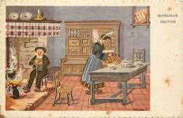 """- Depts Divers -FF173- Finistere -"""" Interieur Breton """"d Apres Gouache Originale De M. Geiger - Illustrateurs - - France"""