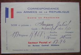 Carte En Franchise 197 Régiment 42eme Batterie Secteur Postal 87/74 Gabriel Bompun 1934 - Cartes De Franchise Militaire