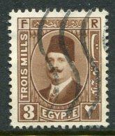 Egypt 1927-37 King Fuad I - 3m Pale Brown Used (SG 150) - Egypt