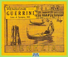 Voyo PENSIONE GUERRINI Venezia Italy Hotel Label  Early Printing  Vintage - Etiquettes D'hotels