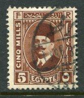 Egypt 1927-37 King Fuad I - 5m Chestnut Used (SG 156) - Egypt