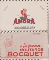 108 BUVARD Lot De 2 MOUTARDE BOCQUET + Froissée Et Ouverte  ET AMORA - Moutardes