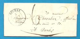 Cote D'Or - Seurre Pour Un Officier De La Marine à Paris. CàD Type 13 + Taxe Tampon 6 - Postmark Collection (Covers)