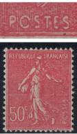"""VARIETE : LEGENDE """" PCSTES Au Lieu De POSTES """" En Neuf * TB Au Type SEMEUSE LIGNEE N°199 50c Rouge (VARIETE) - Varieties: 1921-30 Mint/hinged"""