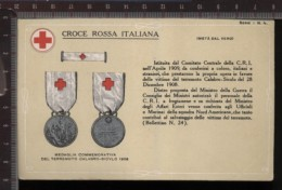 393D/15 CPA CARTOLINA POSTALE CROCE ROSSA ITALIANA MEDAGLIA COMMEMORATIVA DEL TERREMOTO CALABRO SICULO 1908 SERIE N.4 - Croix-Rouge