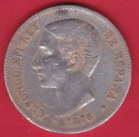 Espagne - 5 Pésétas 1875 - Alfonso XII - Argent - TB - Espagne