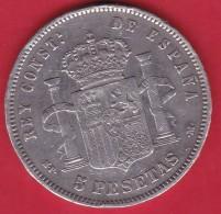Espagne - 5 Pésétas 1888 - Alfonso XIII - Argent - TB - Spain
