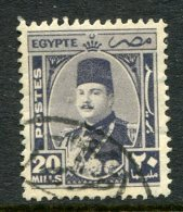 Egypt 1944-52 King Farouk - 20m Grey-violet Used (SG 300) - Egypt