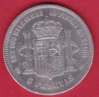 Espagne - 5 Pésétas 1871 - Alfonso I - Argent - TB - Espagne