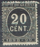 Sello 20 Cts Impuesto De Guerra 1898, VARIEDAD De Impresion º - Impuestos De Guerra