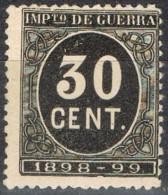 Sello 30 Cts Impuesto De Guerra 1898, VARIEDAD De Impresion º - Impuestos De Guerra